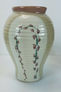 Hand Crafted Studio Pottery Ceramic Floral Vase Signed