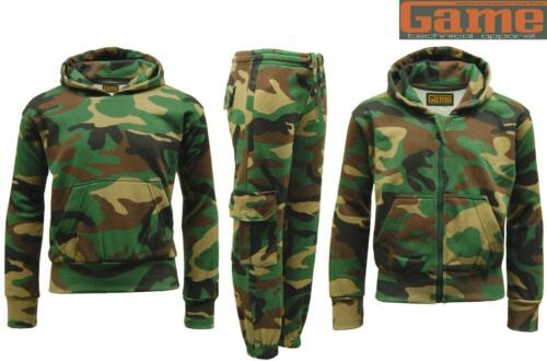 Joggers Kids GAME Army Camo Camouflage Woodland Fleece Tracksuit Hoodie