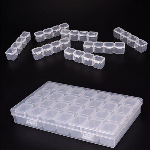 Plastic 28Slots Nail Art Tool Jewelry Storage Box Case Makeup Organizer Bead .hc
