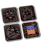 Trintec 4-piece Square Acrylic Modern Aircraft Instrument Coaster Set - 9099