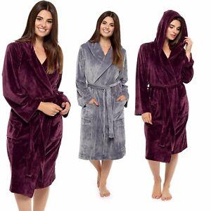 Image is loading Ladies-Luxury-Moleskin-Robe-Velvet-Touch-Hooded-Dressing- 82768f448