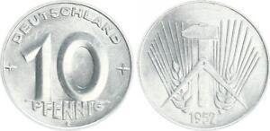 GDR 10 Pfennig 1952 E Fresh Mint Seltenes Year (3) Mint State