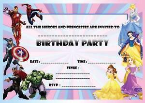 Invitations personnalisées Fête D/'anniversaire Disney Princesse super héros 8 cartes