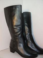 Rose Petals Women's Curl Black Leather Boots Side Zipper Wide Shaft Size 9.5