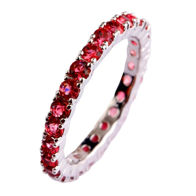 Handsome Round Cut Ruby Spinel Gemstones Silver Ring Size 6 7 8 9 10 11 12 13