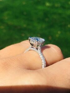 2.10Ct Round Cut Moissanite Solitaire Engagement Ring 14K Solid White Gold Over