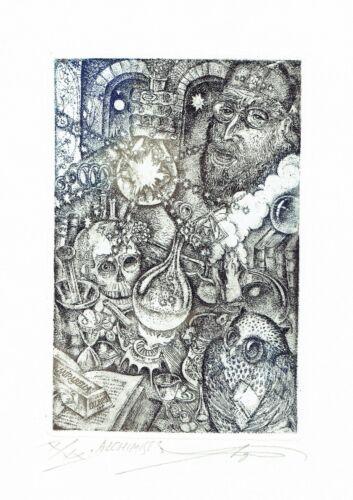 - Alchimist fine etching ex libris G signed Mirabella VERESCHAGIN Vladimir