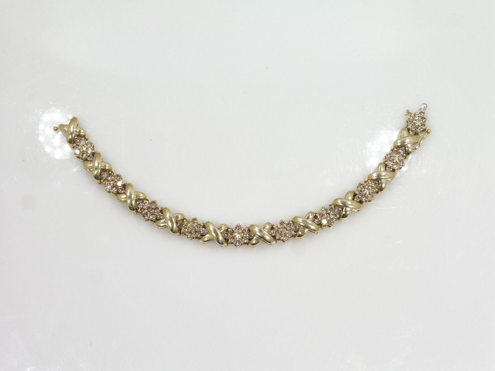 14K YELLOW gold XO 5 CARAT DIAMOND TENNIS BRACELET .92 TROY OZ