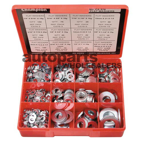 CHAMPION FLAT STEEL WASHERS ZINC PLATED ASSORTMENT KIT 695 Pieces