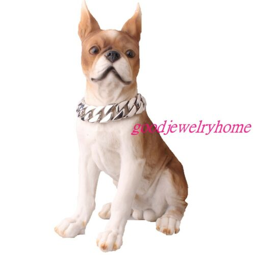 24//30mm pesado de acero inoxidable oro//plata cadena Collar Cubano Perro Mascota Collares