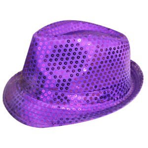 HOT PINK UNISEX SEQUIN FEDORA HAT TRILBY FANCY DRESS HEN PARTY STAG DO GANGSTER
