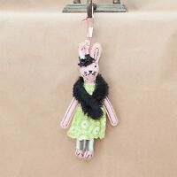 Anthropologie Soiree Bunny Ornament With Green Dress And Black Fur Wrap