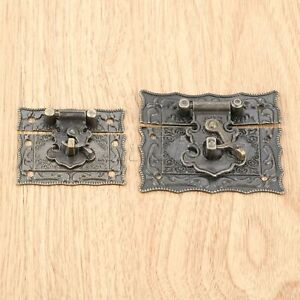 Retro Embossing Wooden Gift Wine Chest Jewelry Box Latch Hasp Clasp Hardware