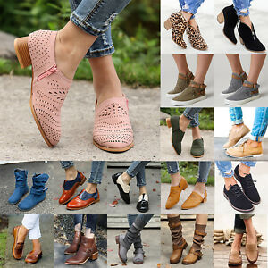 Women-Mid-Block-Heels-Ankle-Leather-Boots-Casual-Chunky-Flats-Booties-Shoes-Size