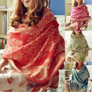 Mode-Femmes-Hiver-Chaud-Cachemire-Soie-Solide-Longue-Echarpe-Pashmina-Chale-G