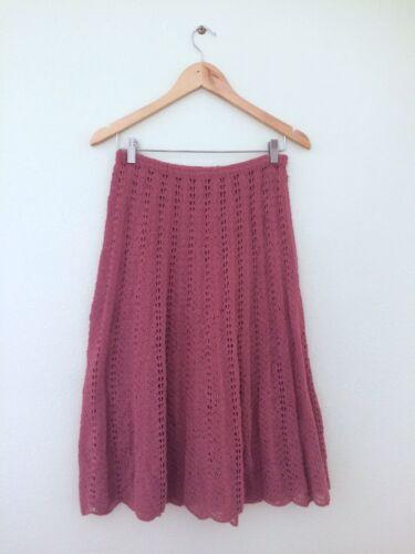 Vintage Hand Crocheted Medium Length Dusty Rose Sk