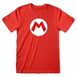Men-039-s-Retro-Super-Mario-Bros-M-Logo-Rojo-T-Shirt-Tee-Nintendo-Retro