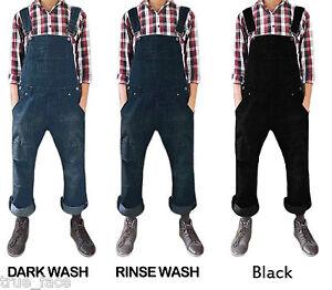 Men-Women-Unisex-Dark-Wash-Denim-Dungarees-All-In-One-Piece-Bib-Overalls