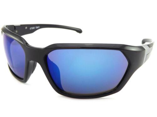 STONE men/'s Wrap Sunglasses Shiny Black Silver// Blue Mirror CAT.3 Lens ST500