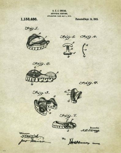Dentist Patent Poster Art Print Vintage Dental Instruments Tools Dentures PAT178