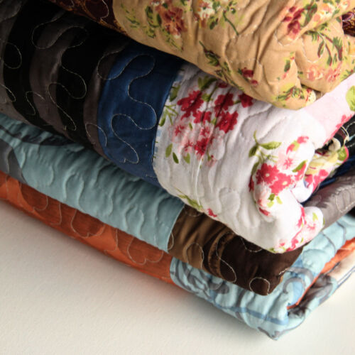 Blanket or Quilt with two pillow cases Vintage Patchwork Mix Modern Print Thorw