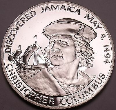 Faithful Massive Silver Proof Jamaica 1975 10 Dollars~christopher Columbus 1494~free Ship Cheap Sales 50% North & Central America