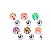 G34 - 6pcs Metallic Coated Candy Ball Stud Tragus Rings Wholesale Body Jewelry