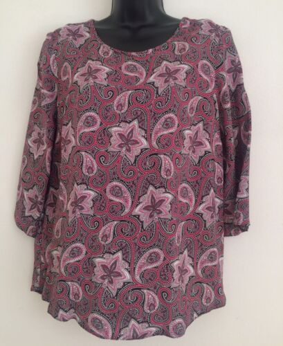 NEW Ex DP Multi Paisley Print Scoop Neck Zip Back Formal Blouse Top Size 10-20