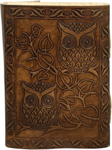 Details about  /Brown Leather Journal Embossed Owl Book cover rugged diary Travelers men gift