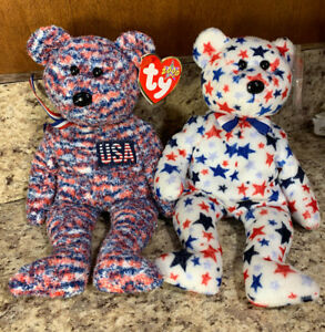 798d6e43254 Ty Beanie Baby USA Spangle Glory Lot of 2 Patriotic Red White Blue ...