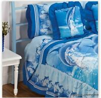 Sea Dolphins Bedding Sheet Set Sabanas Pillow Twin Gift Blue Ocean Decoration Nw