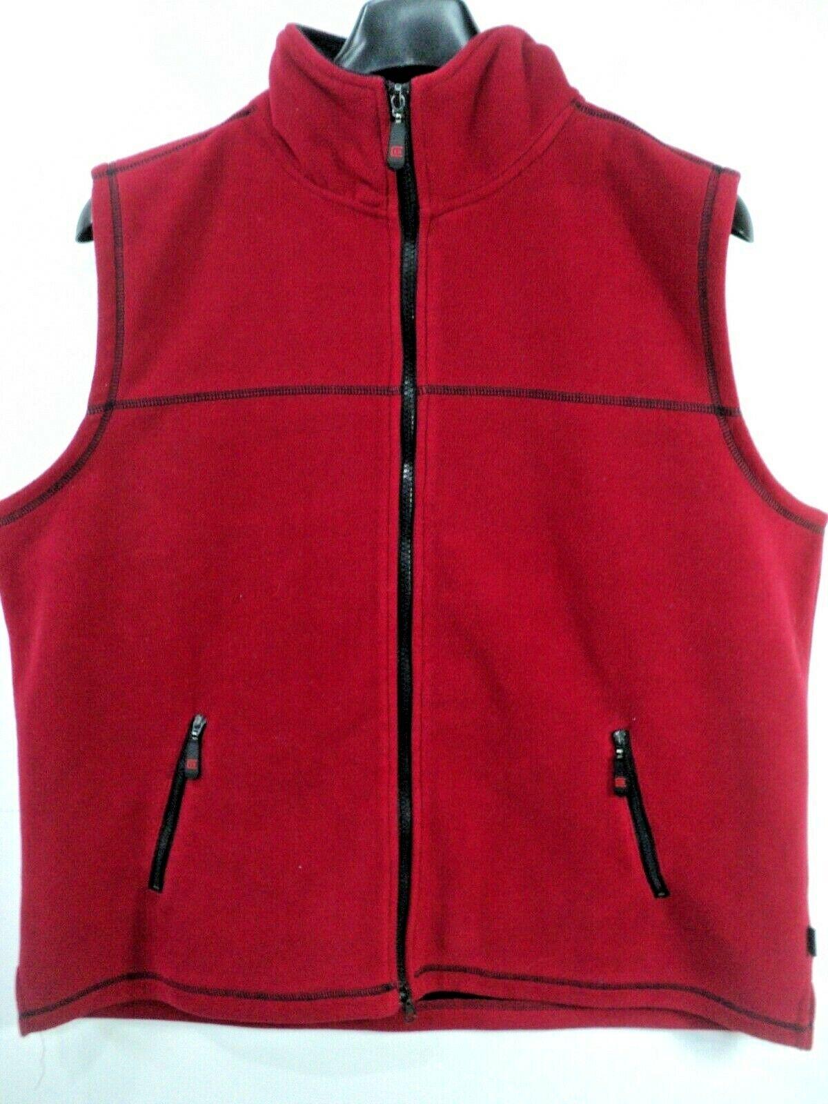 BC Clothing Women Vest Red Polyester Fleece Full Zip Sz XL