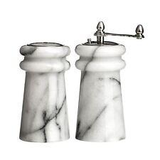 Salt Shaker and Pepper Mill Set, White Marble (6 x 10 x 6 cm)
