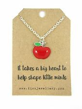 "Teacher Gift ""Takes a Big Heart To help Shape Little Minds"" Apple Card Necklace"