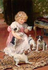 Arthur Elsley, Jack Russell Dogs, Little Girl Dress, Victorian, 16x11 Art Print