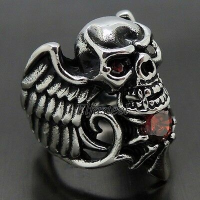 Men's Gothic Vampaire Skull Wing Ruby Red CZs 316L Stainless Steel Biker Ring
