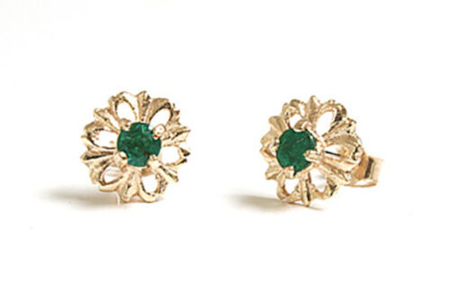 9ct Gold Emerald stud earrings Made in UK Gift Boxed studs
