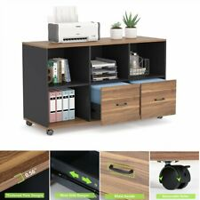 Mobile 2 Drawers Lateral File Cabinet For Home Office With Open Storage Shelves