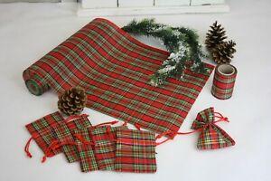 Tischläufer 5m Säckchen 6er Set Tischband 5m Rot Grün Kariert Weihnachten Deko