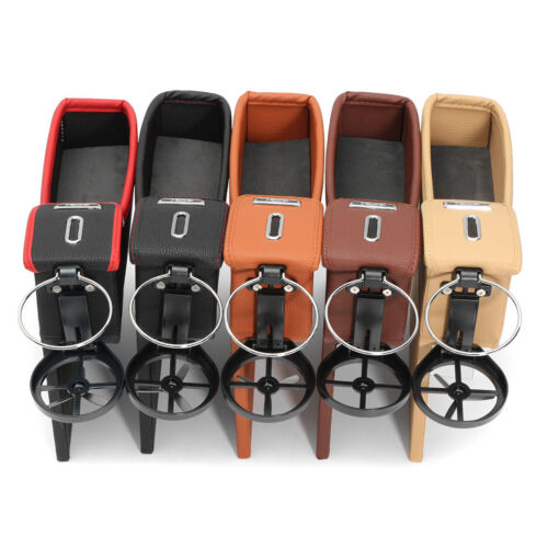 Car Seat Driver PUStorage Box Catcher Gap Filler Coin Collector Cup Holder Black