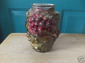 Vintage-Dark-Red-and-Gold-Grape-Goofus-Glass-7-Inch-Vase