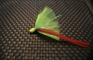 3 Snook Popeye Jigs 3//4 Once 6//0 Mustand Hook White Head Chartreuse Green Skirt