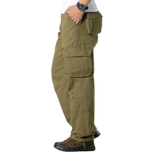New Mens Cargo Pants Multi-Pockets Tactical Pant Outwear Straight Long Trousers