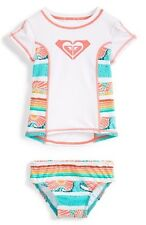 Roxy -4-  Girls 2 Pc Rash Guard Tankini Swimsuit Sea You Soon Tropical Bikini