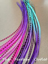 Lot 10 Grizzly Feather Hair Extensions long Real Tie Dye Pink Blue Ombre MIX