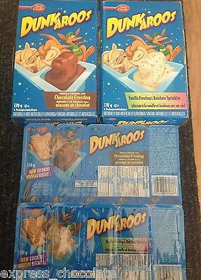 DUNKAROOS COOKIES WITH VANILLA OR CHOCOLATE DIPPING FLVR *4 PACKS FREE SHIP