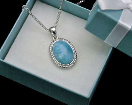 Natural Larimar 10X14mm Cabochon Classic Vintage Necklace .925 Sterling Silver