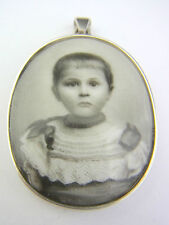 schöner alter Anhänger Silber mit Porzellan Kinderportrait ca. um 1880