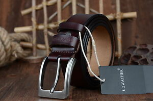 Genuine-Pure-Cow-Leather-Mens-Belt-Alloy-Pin-Buckle-Dress-Casual-Belt-Waistband