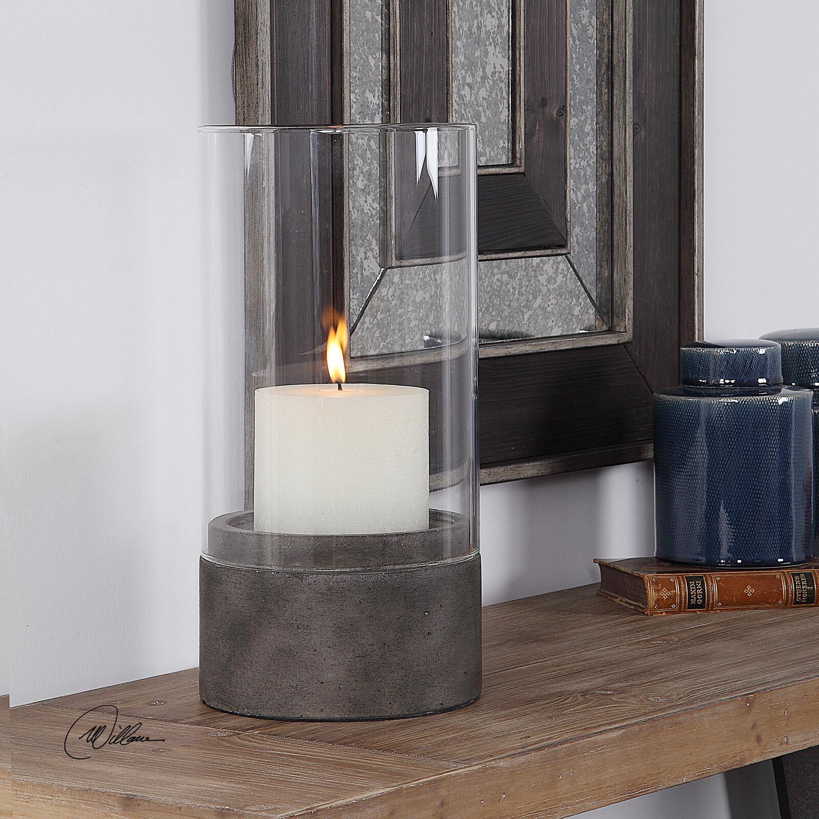 Minimalist Minimalist Minimalist Large Concrete Pillar Candle Holder   Hurricane Rustic Indoor Outdoor 56da0c